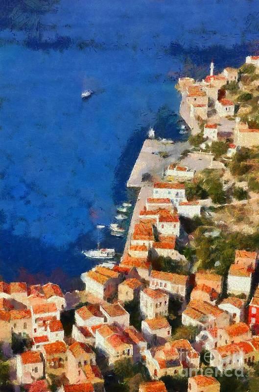 Kastellorizo Poster featuring the painting Kastellorizo Island by George Atsametakis