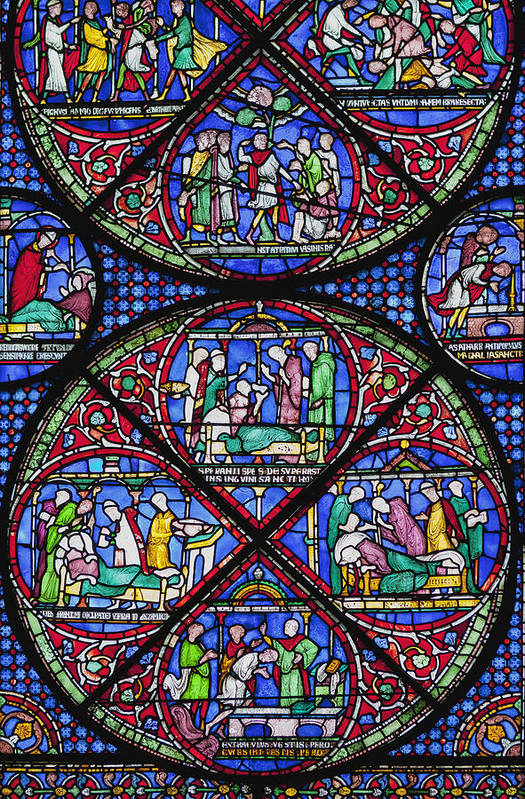 Pattern Poster featuring the photograph Colourful Stained Glass Window In by Terence Waeland