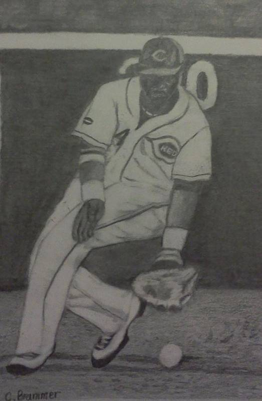 Reds Poster featuring the drawing Brandon Phillips by Christy Saunders Church