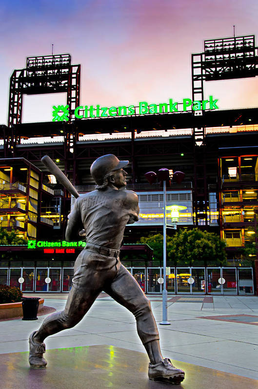 Citizens Poster featuring the photograph Citizens Bank Park - Mike Schmidt Statue by Bill Cannon