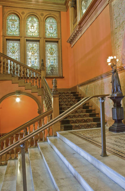 Stairs Poster featuring the photograph Flagler College Entryway by Rich Franco