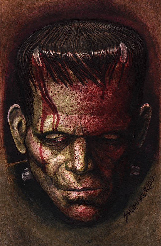 Prison Paintings Paintings Poster featuring the mixed media Frankenstein by David Shumate