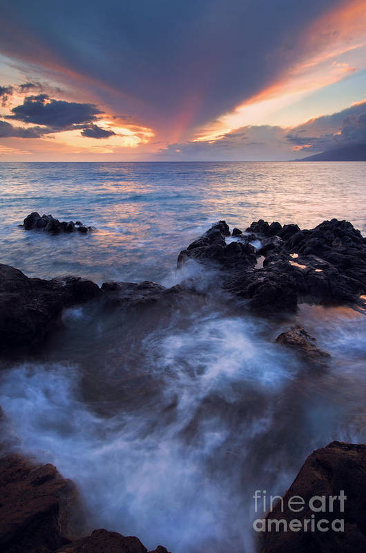 Red Sky Poster featuring the photograph Red Sky Over Lanai by Mike Dawson