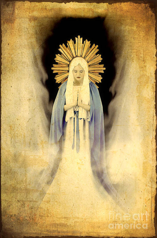 Mary Poster featuring the painting The Virgin Mary Gratia Plena by Cinema Photography