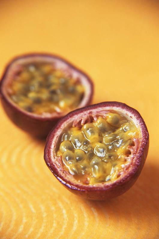 Passiflora Edulis Poster featuring the photograph Passion Fruit Halves by Veronique Leplat