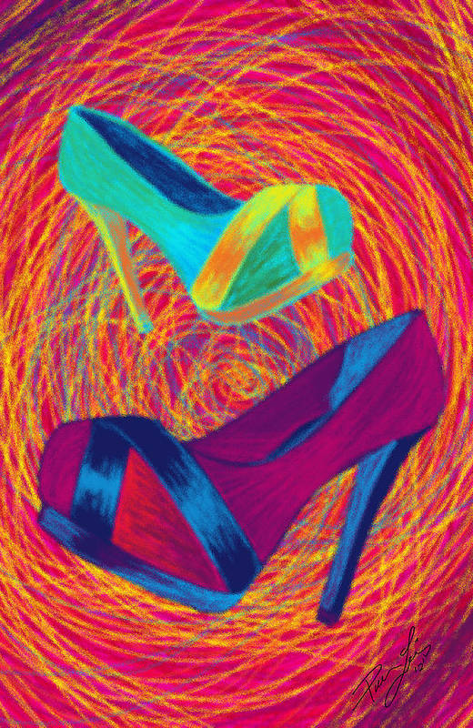 High Heels Poster featuring the digital art Blues Heels by Kenal Louis