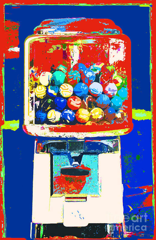 Anahi Decanio Poster featuring the mixed media Candy Machine Pop Art by ArtyZen Kids