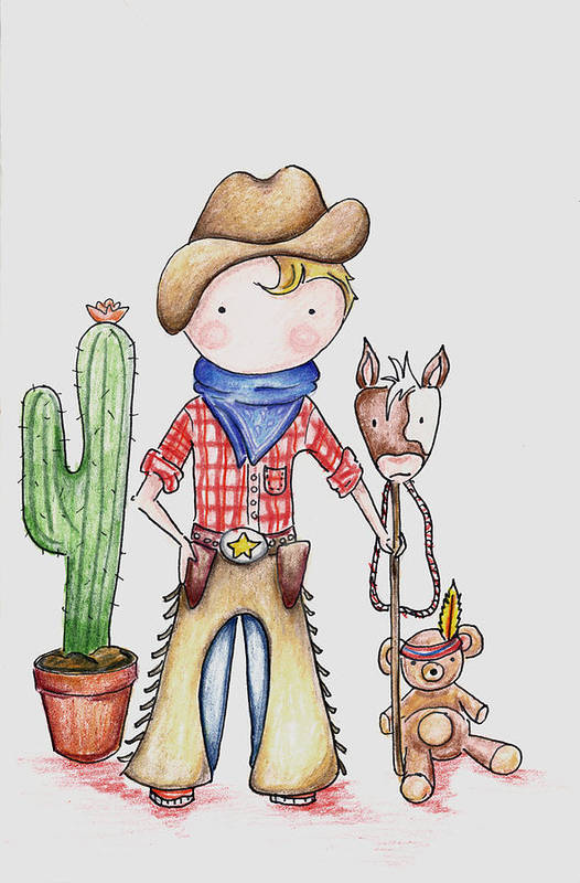 Cowboy Poster featuring the drawing Cowboy by Sarah LoCascio