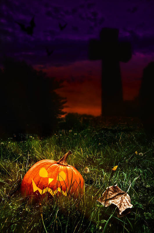 Halloween Poster featuring the photograph Halloween Cemetery by Amanda Elwell