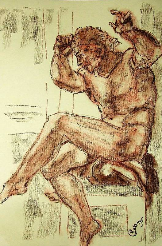 Male Poster featuring the drawing Male Nude Figure Drawing Sketch With Power Dynamics Struggle Angst Fear And Trepidation In Charcoal by MendyZ M Zimmerman