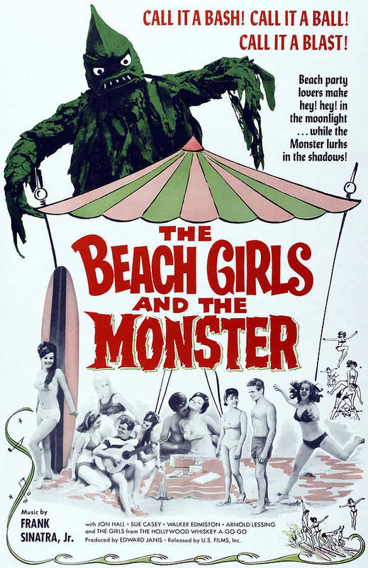 1960s Movies Poster featuring the photograph The Beach Girls And The Monster by Everett
