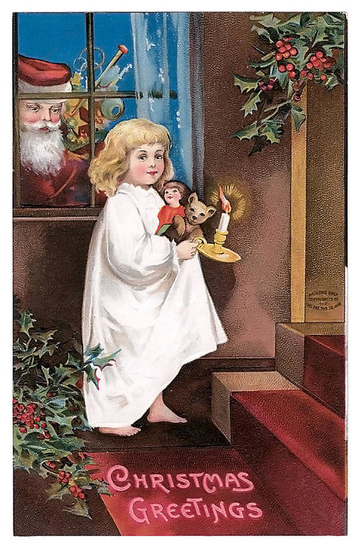 Child Poster featuring the painting Vintage Christmas Greetings by Unknown