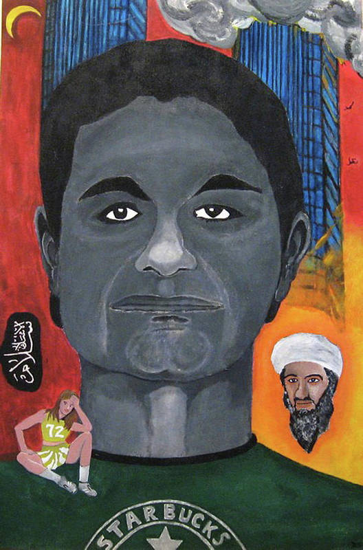 Mohamed Poster featuring the painting Mohamed Atta by Darren Stein