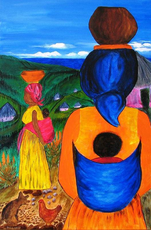 Family Poster featuring the painting African Life 2919 by Jessie Meier