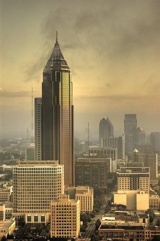 Atlanta Poster featuring the photograph Atlanta Skyline At Dusk by Robert Ponzoni