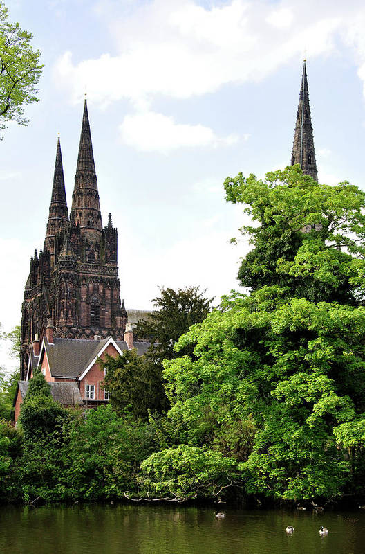 Vertical Poster featuring the photograph Lichfield Cathedral From Minster Pool by Rod Johnson