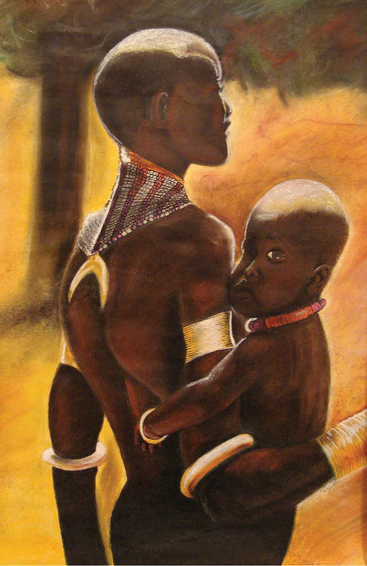 Black Art Poster featuring the pastel My Love by Stacy V McClain
