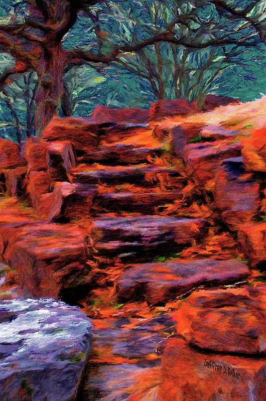Stone Steps Poster featuring the painting Stone Steps In Autumn by Jeff Kolker