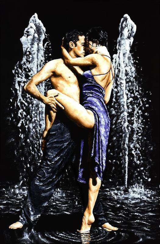 Tango Poster featuring the painting The Fountain Of Tango by Richard Young