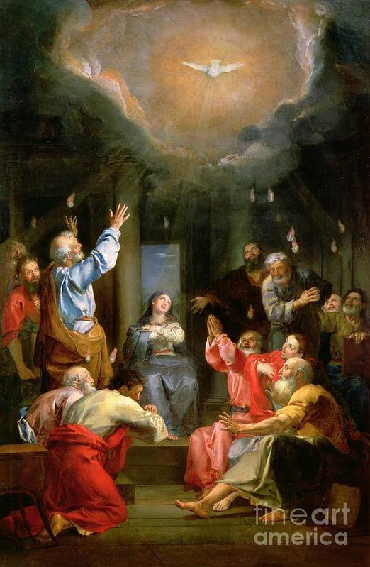 The Pentecost (oil On Canvas) Dove; Prayer; Adoration; Wonder; Virgin Mary; Madonna; La Pentecote; Faith Poster featuring the painting The Pentecost by Louis Galloche