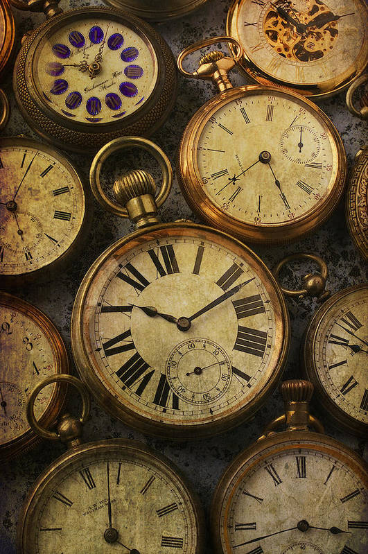 Time Poster featuring the photograph Aged Pocket Watches by Garry Gay