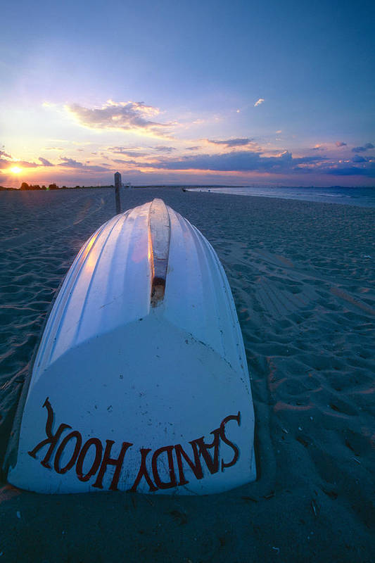 Beach Poster featuring the photograph Sandy Hook Beach Sunset by George Oze
