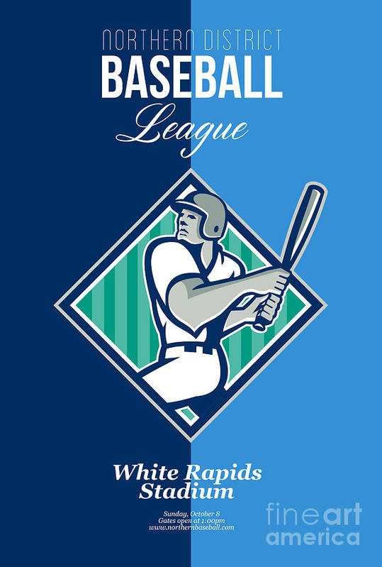 Baseball Poster featuring the digital art Baseball Hitter Batting Diamond Retro by Aloysius Patrimonio