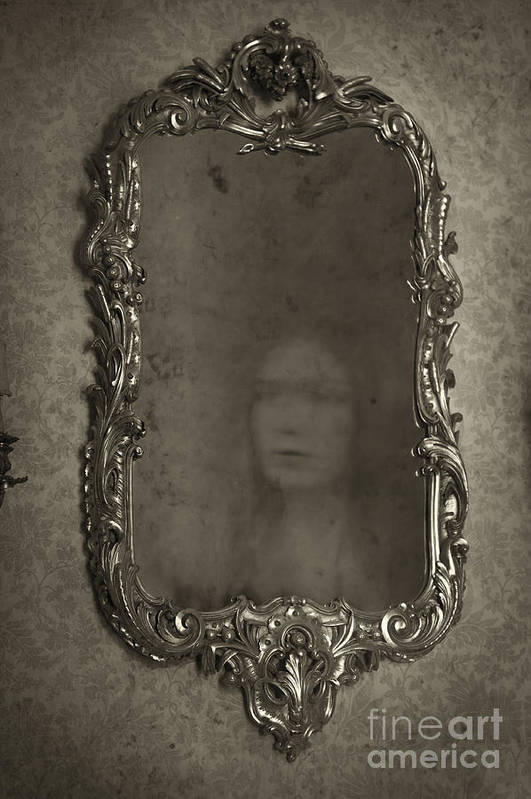 Mirror Poster featuring the photograph Ghost Of A Woman Reflected In A Mirror by Lee Avison
