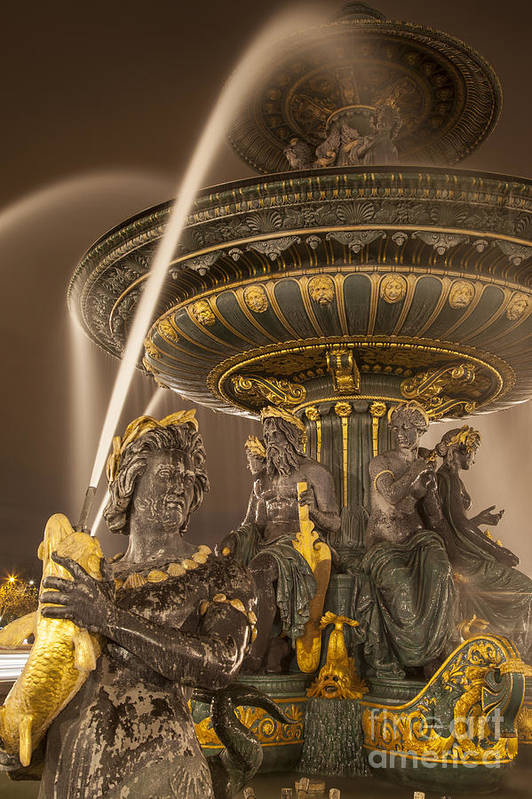 Architectural Poster featuring the photograph Paris Fountain by Brian Jannsen