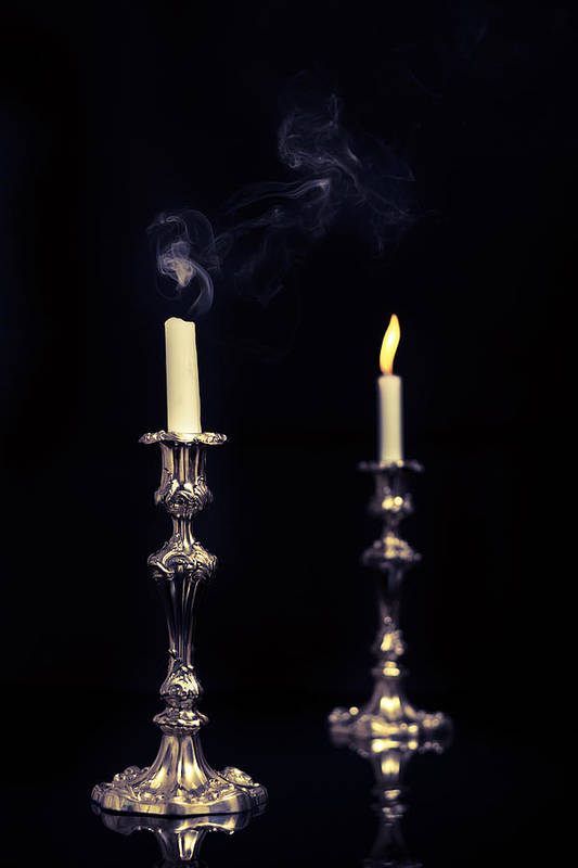 Lit Poster featuring the photograph Smoking Candle by Amanda And Christopher Elwell