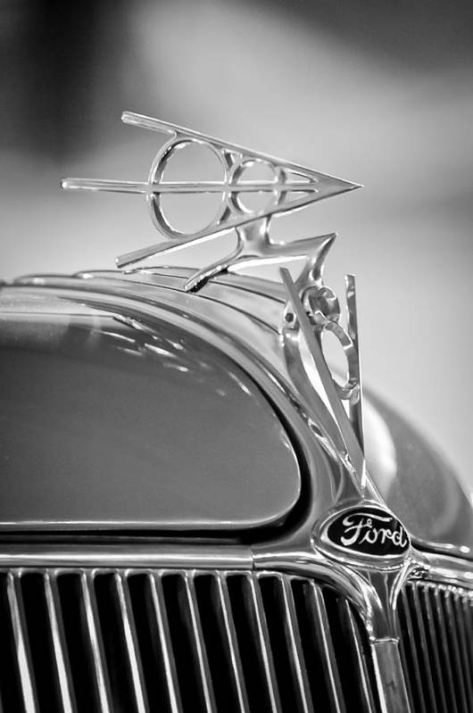 1936 Ford Deluxe Roadster Poster featuring the photograph 1936 Ford Deluxe Roadster Hood Ornament 2 by Jill Reger