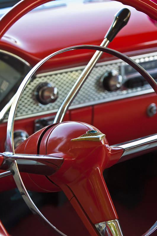Car Poster featuring the photograph 1955 Chevrolet Belair Nomad Steering Wheel by Jill Reger
