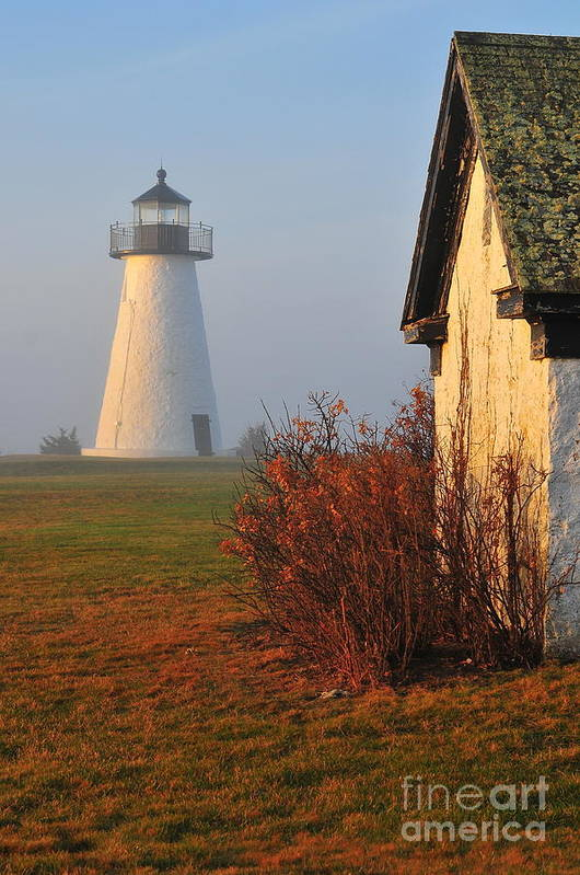 Lighthouse Poster featuring the photograph A Morning Fog by Catherine Reusch Daley