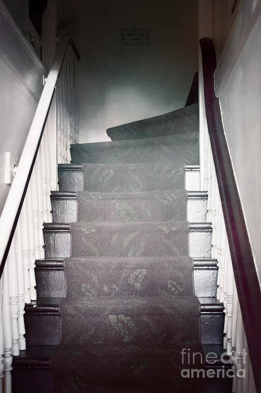Stairs; Staircase; Up; Down; View; Steps; Wood; Wooden; Details; Railing; Rail; House; Home; Inside; Indoors; Banister; Painted; Carpet; Runner; Dark; Darkness Poster featuring the photograph Ascend by Margie Hurwich