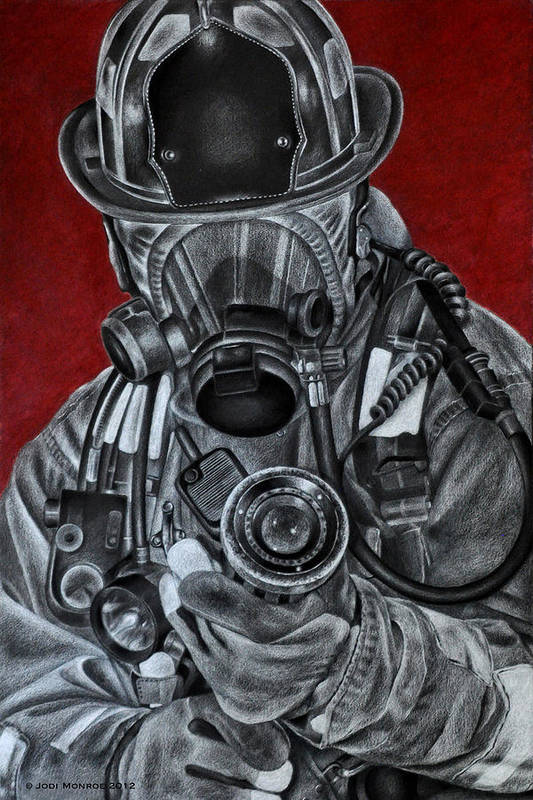Firefighter Poster featuring the drawing Assault by Jodi Monroe