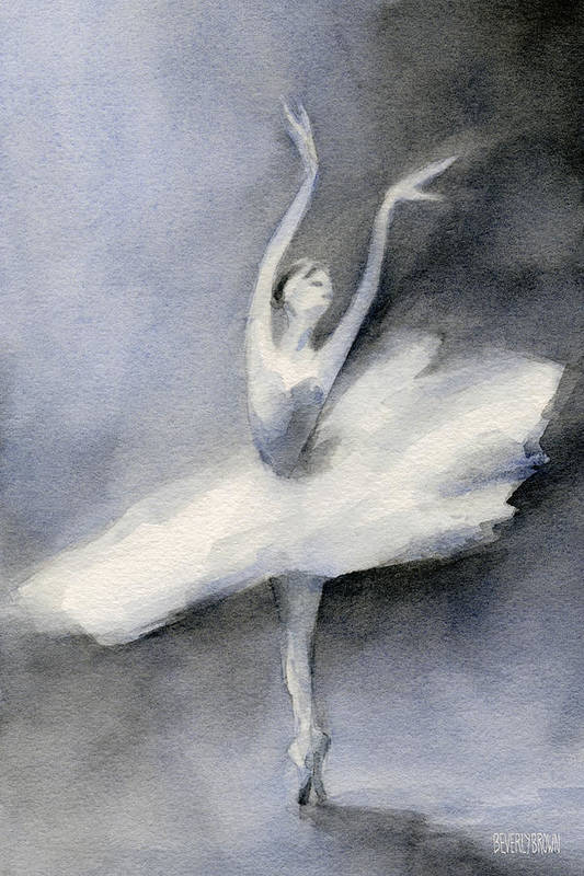 Ballerina Poster featuring the painting Ballerina In White Tutu Watercolor Painting by Beverly Brown Prints