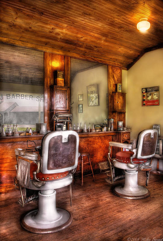 Barber Poster featuring the photograph Barber - The Barber Shop II by Mike Savad