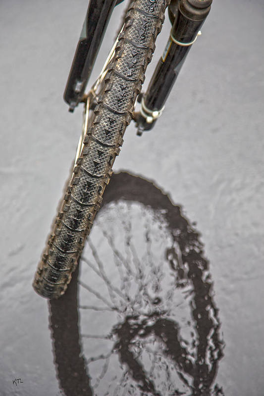 Bike Poster featuring the photograph Biking In The Rain by Karol Livote