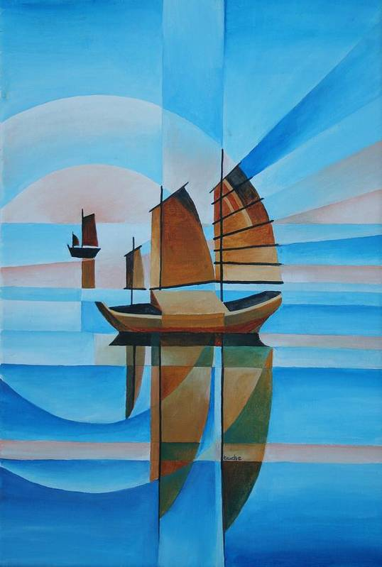 Sailboat Poster featuring the painting Blue Skies And Cerulean Seas by Tracey Harrington-Simpson