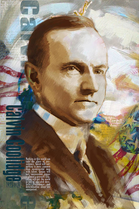 Calvin Cooldige Poster featuring the painting Calvin Coolidge by Corporate Art Task Force