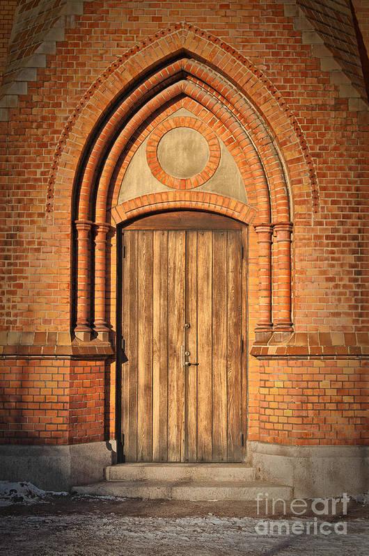 Entrance Poster featuring the photograph Church Door Helsingborg by Antony McAulay