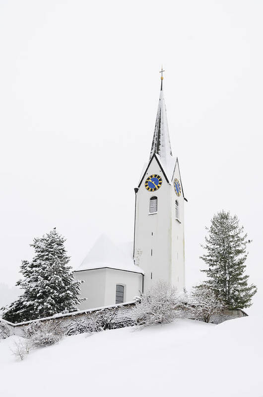 Church Poster featuring the photograph Church In Winter by Matthias Hauser