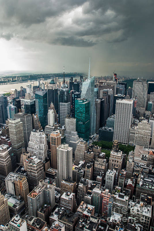 Nyc Poster featuring the photograph cloudy Manhattan by Hannes Cmarits