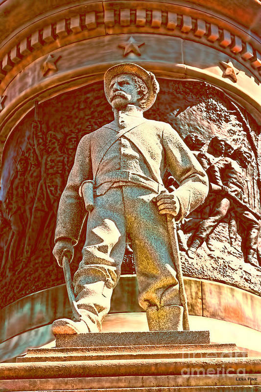 Confederate Poster featuring the photograph Confederate Soldier Statue I Alabama State Capitol by Lesa Fine