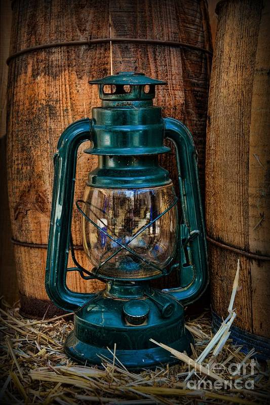 Barn Poster featuring the photograph Cowboy Themed Wood Barrels And Lantern by Paul Ward