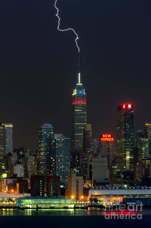 Clarence Holmes Poster featuring the photograph Empire State Building Lightning Strike I by Clarence Holmes