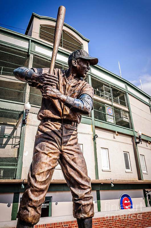 America Poster featuring the photograph Ernie Banks Statue At Wrigley Field by Paul Velgos