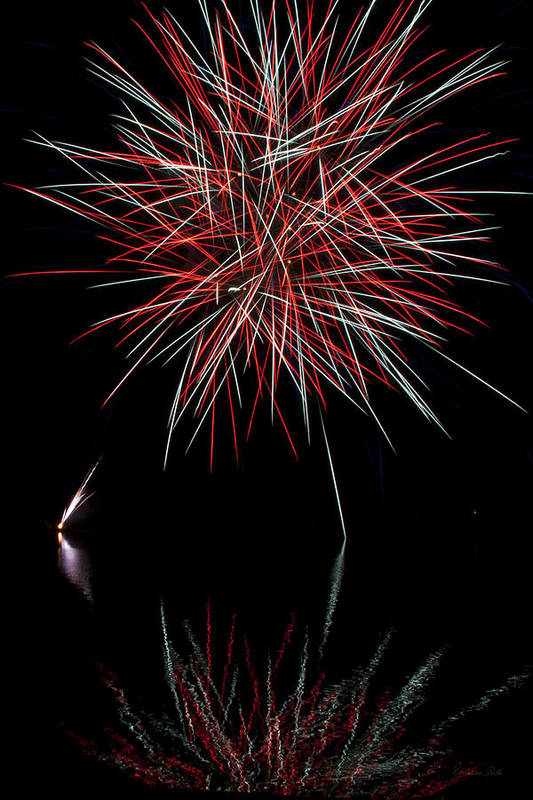 Fireworks Poster featuring the photograph Fireworks Rockets Red Glare by Christina Rollo