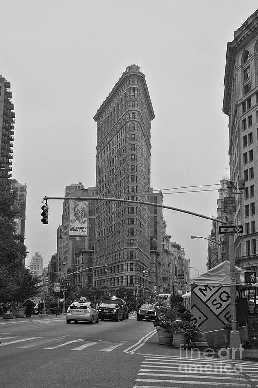 Flatiron Poster featuring the photograph Flatiron Black And White by David Bearden