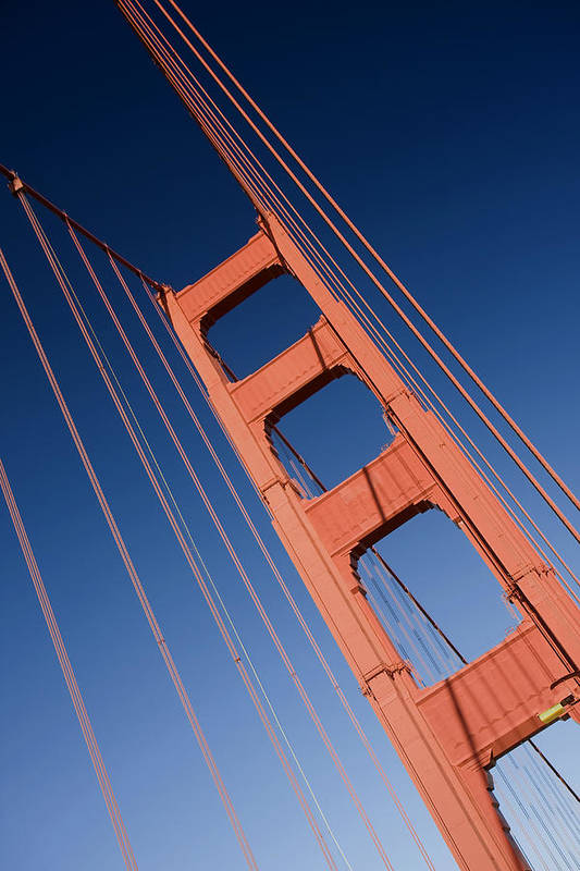 Golden Gate Bridge Poster featuring the photograph Golden Tower II Lh by Darren Patterson